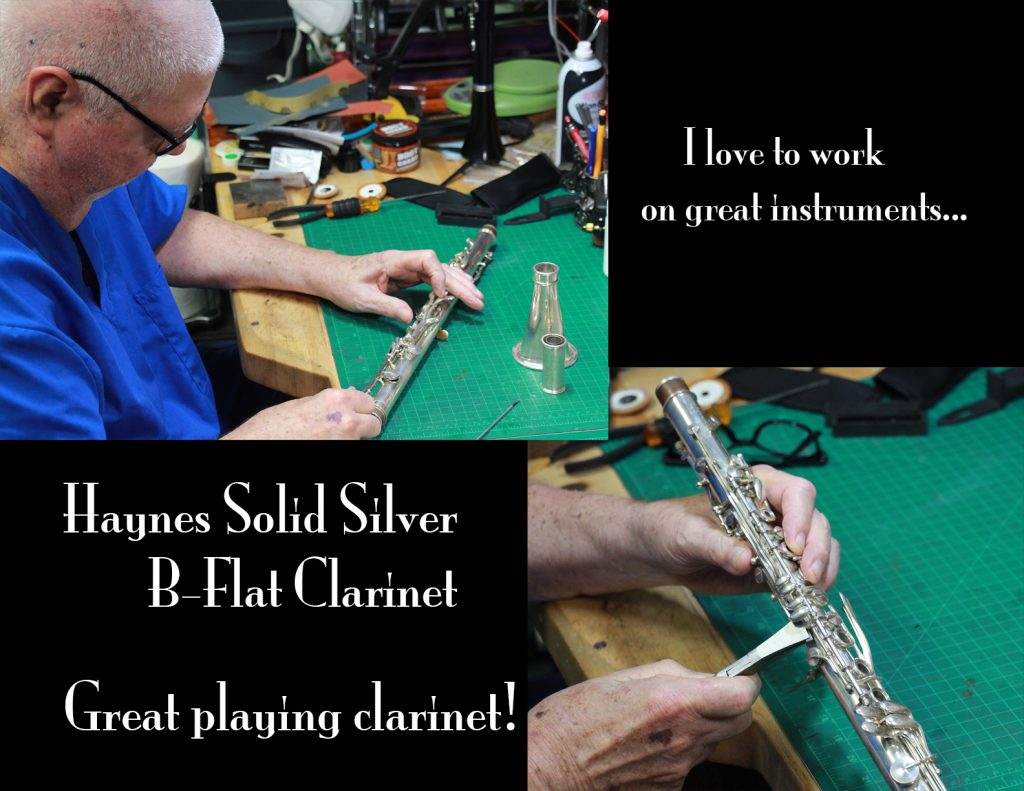 Rheuben working on a Haynes very rare solid silver metal clarinet...